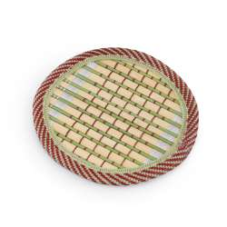 Підставка під чашки бамбукова соломка кругла зелена 10 см