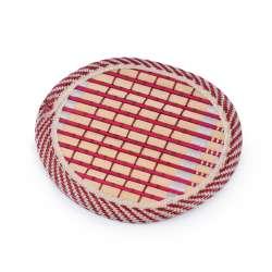 Підставка під чашки бамбукова соломка кругла червона 10 см
