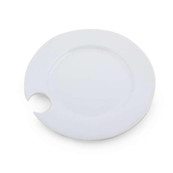 Тарелка керамическая круглая с круглым вырезом 20,5х20,5х2 см белая