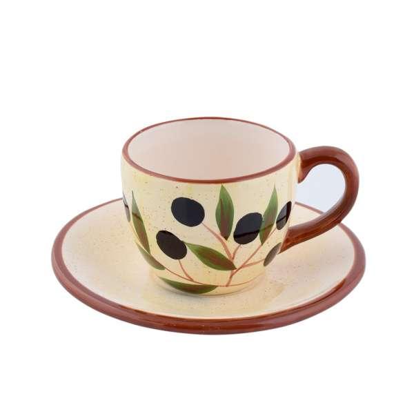 чашка с блюдцем св-желтая с коричн.ручкой