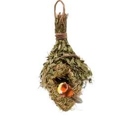 Настенный декор гнездо соломенное с веточками 30х14х11 см с птичкой
