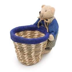 Корзинка для рукоделия соломенная 13х13х12 см с мишкой мальчиком 18 см
