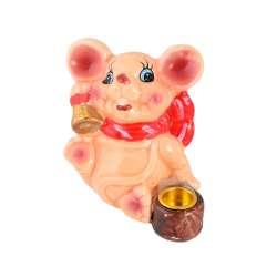 Фігурка свічник Мишка 8 см з дзвіночком бежева