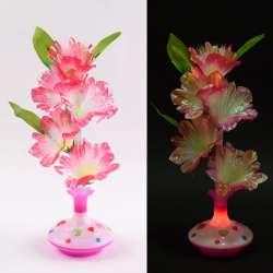 Ночник светильник на батарейках Букет в вазе, 40см, розовый