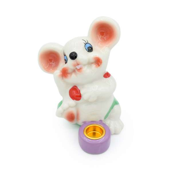 Фігурка свічник Мишка в купальнику з бузковим свічником 8 см біла