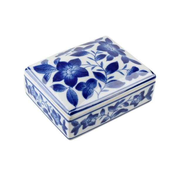 шкатулка керам. белая с синим рисунком, 11х14