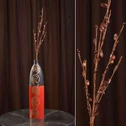 Искусственная веточка вербы 80 см с бусинами коричневая