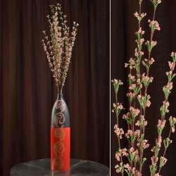 Искусственная веточка 100 см полевых цветов розовая