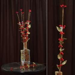 Искусственная веточка 75см с ягодами красными