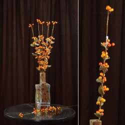 Искусственная веточка 75см с ягодами желто-красными