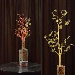 Искусственная веточка 80 см с мелкими цветами и спиралью желтая