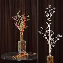 Искусственная веточка 80 см с мелкими цветами и спиралью белая
