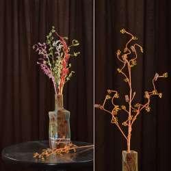Искусственная веточка 80 см с мелкими цветами и спиралью оранжевая