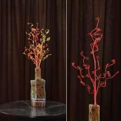 Искусственная веточка 80 см с мелкими цветами и спиралью красная