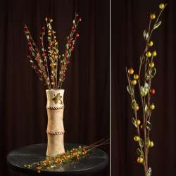 цветы иск. Веточка с ягодами и стекл.лист.