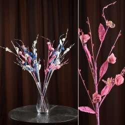 Искусственная веточка 70 см китайская розочка розовая