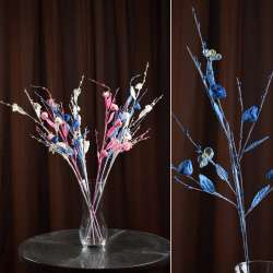 Искусственная веточка 70 см китайская розочка голубая