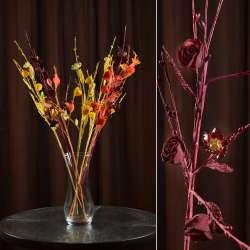 Искусственная веточка 70 см китайская розочка бордовая
