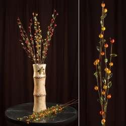 Искусственная веточка 80см с ягодами желтыми и стеклянными листьями