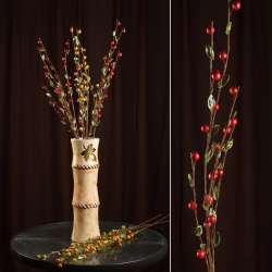 Искусственная веточка 80см с ягодами красными и стеклянными листьями