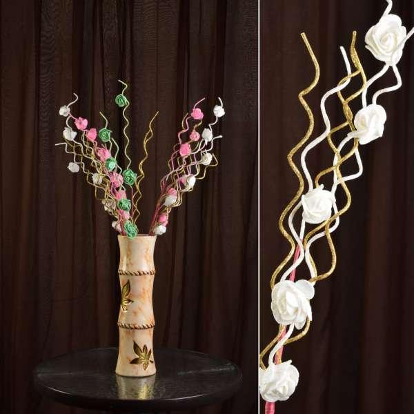цветы иск. Веточка роз со спир.отделкой, 75см