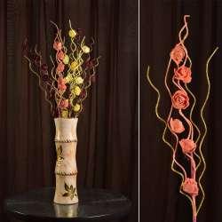 Искусственная веточка 75 см с розочками и золотистой спиралью оранжевая