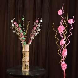 Искусственная веточка 75 см с розочками и золотистой спиралью розовая