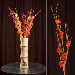 Искусственная веточка 80 см с розочками и стеклянными листьями оранжевая