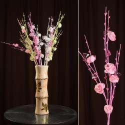 Искусственная веточка 80 см с розочками и стеклянными листьями розовая