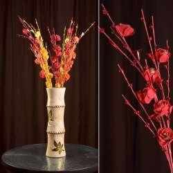 Искусственная веточка 80 см с розочками и стеклянными листьями красная