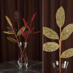 Искусственная веточка 63 см с ажурными блестящими листьями золотистая