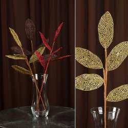 Штучна гілочка з ажурними блискучими листям золотиста