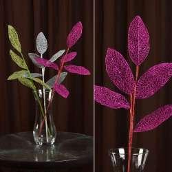Искусственная веточка 63см с ажурными блестящими листьями розовая