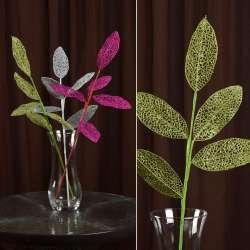 Искусственная веточка 63см с ажурными блестящими листьями зеленая