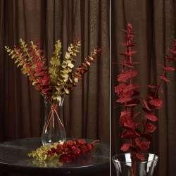 Искусственная веточка 47 см с блестящими листьями красная
