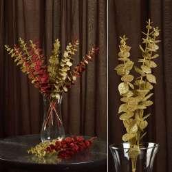 Искусственная веточка 47 см с блестящими листьями золотистая