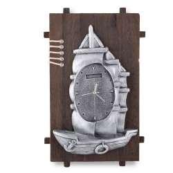 Часы настенные на деревянной основе 36x21см Парусник