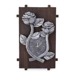 Годинник настінний на дерев'яній основі 36x21см Троянди