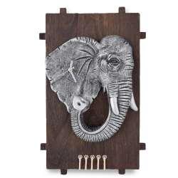 Годинники настінні на дерев'яній основі Слон