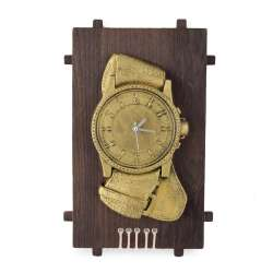 Годинники настінні на дерев'яній основі Годинники золотисті