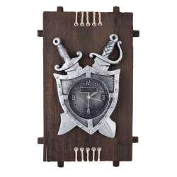 Часы настенные на деревянной основе 36x21см Щит и мечи