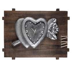 Годинники настінні на дерев'яній основі Серце з трояндою 35х50х8 см
