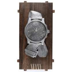 Годинники настінні на дерев'яній основі Годинники 60х30х6 см сріблясті