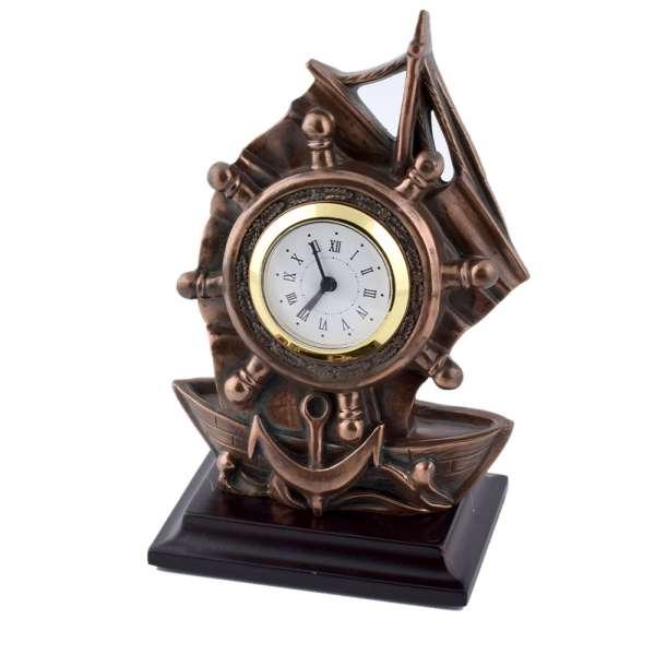 часы настольные Парусник латунные, 16см