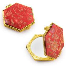 Дзеркало косметичне шестикутне в китайському стилі 8см червоне