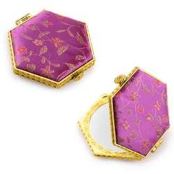 Дзеркало косметичне шестикутне в китайському стилі 8см фіолетове