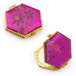 Дзеркало косметичне шестикутне в китайському стилі 8см малинове