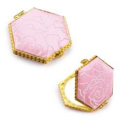 Дзеркало косметичне шестикутне в китайському стилі 8см рожеве