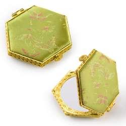 Дзеркало косметичне шестикутне в китайському стилі салатове