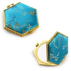 Дзеркало косметичне шестикутне в китайському стилі 8см бирюзове